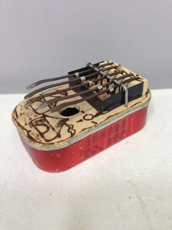 "Piano African Piano Sardine Recycled Thumb Piano Handmade Sardine Can ""Kalimba"" Musical Piano Tines Thumbs Fun Gift Tunes"