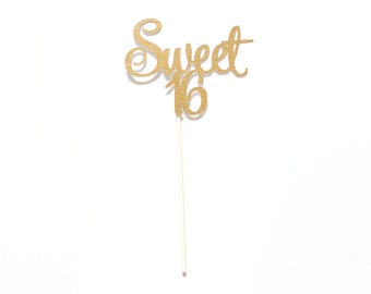 Gold Glitter or Any Color Sweet 16 Birthday Cake Topper - Sixteen Birthday Party - Decor & Supplies
