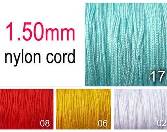 1.5mm Nylon Cord  - Shamballa -  Macrame -  aqua, white, red, lt orange
