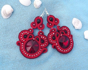 Shimmering Red Rivoli crystals - Soutache earrings