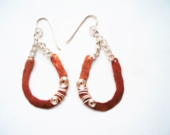 Mixed Metal Earrings, Copper and Silver Earrings, Handmade Copper Earrings, Handmade Silver Earrings, hammered metal earrings