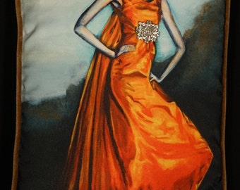 Orange Dress Pillow (original art printed and embellished with vintage crystals)
