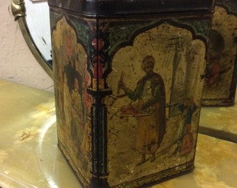 Victorian c1900 vintage tin tea caddy persian Asian scene tea caddy