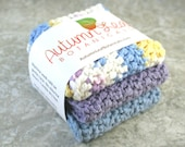 CLEARANCE SALE - Cotton crocheted washcloth (or dishcloth) set in light blue, purple, and a mix of light blue, purple, and yellow on white