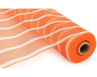 """21"""" Orange White Deluxe Stripe Deluxe Deco Poly Mesh, Deco Poly Mesh Wreath Supplies (10 yards) - RE1033N7"""