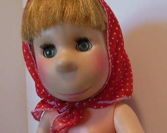 "Red Silk Georgette Polka Dot Scarf for 17-18"" Poor Pitiful Pearl Dolls"