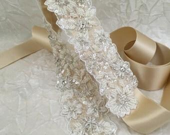 Beaded Belt Sash, Lace Belt, Crystal Bridal Sash, Bridal Lace Belt,  Bridal Belt, Best Friend Bridal KR