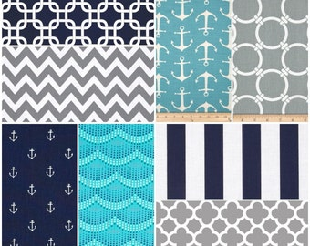 Custom Crib Bedding Set, Made to Order, Aqua, gray, navy, nautical, crib skirt, sheet, baby blanket