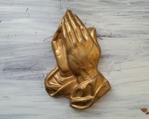 Gold Praying Hands Wall Mount Hanging, Ceramic Hand Made Prayer, Religious Art, Free US Shipping