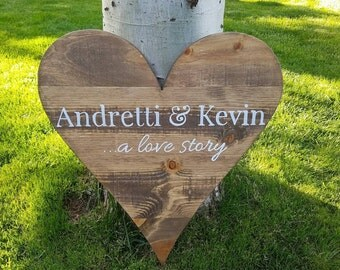 24x27  Wood Heart - Initials, Letters, Family Name - Wedding - Guest book-Anniversary