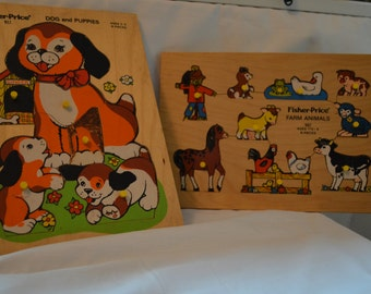 Pair of Vintage Fisher Price Wood Puzzles