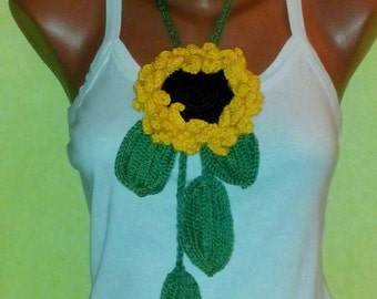 Bohemian, Sun flower Crochet Necklace, 2 in 1 accesorie, sunflower belt, Lariat necklace, crochet sunflower