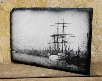 French original marine/seascape/salvaged slate/photo/picture/printed/photo transfer/painting