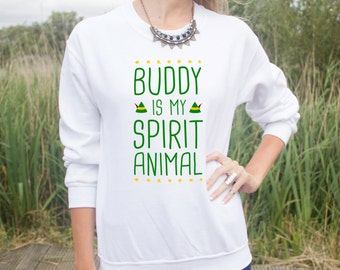 Buddy Is My Spirit Animal Jumper Sweater Top Funny Christmas Quote Movie Film Elf Santa Hat