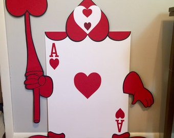Set of 2 - 3.5 ft Tall Life Sized Alice in Wonderland Playing Card, Disney Theme Party