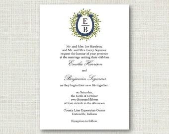 Horseshoe Monogram Wedding Invitation 2