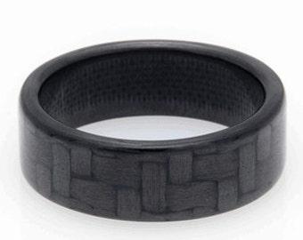 Narrow Polished Carbon Fiber Ring