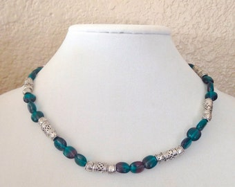 Teal beaded necklace, purple beaded necklace, teal necklace, purple necklace, beaded necklace, blue beaded necklace, blue necklace