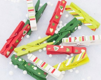 Wooden Christmas Mini Pegs