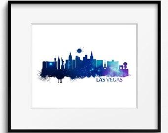 Las Vegas Skyline Watercolor  Art Print (502) Cityscape Nevada USA