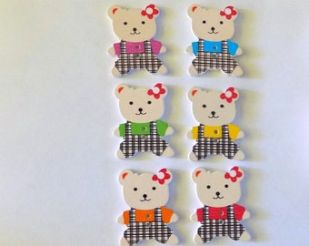 6 Wooden Teddy Bear Buttons  - #SB-00263