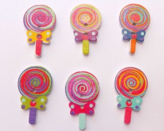 6 Wooden Lollypop Buttons - #SB-00076