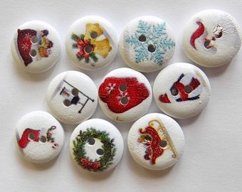 20 Christmas Buttons - 15mm Diameter - #C-00018