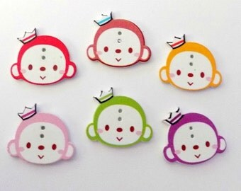 6 Wooden Monkey Faces  -  #SB- 00145