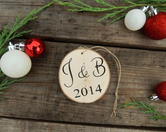 Christmas Ornaments Personalized- Christmas Ornaments-  Personalized Ornament- Rustic Christmas Decorations- Gift for Couples