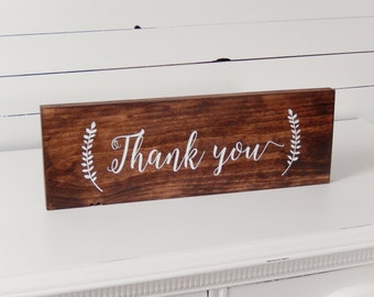 Thank You Sign- Wedding Photo Prop- Thank you card- Rustic Wedding- Boho Wedding- Woodland Wedding- Wedding Signs- Wood Wedding Signs