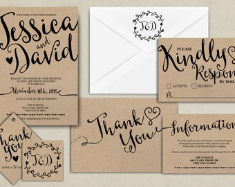 Wedding Invitation Printable, Kraft,Wedding Invitation Suite, RSVP, monogram, info card, hand lettered typography theme.