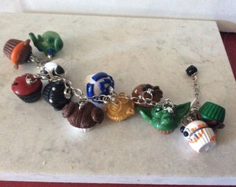 Star Wars bracelet inspired Star Wars cupcakes charms bracelet cp30 Darth Vader R2D2 BB8 Yoda Chew Bacca Rebel Storm Trooper Boba Fett