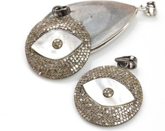 Pave REAL DIAMOND set in sterling silver--Diamond Pave Medium Mother of Pearl Evil eye.