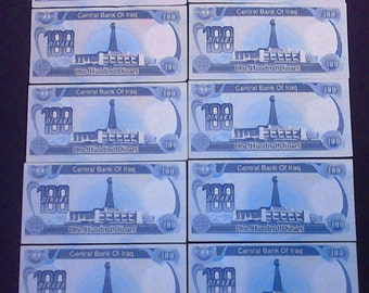 100 Dinars Saddam Hussein Iraq Currency Money Note UNC Banknote Bank Bill ~ Stack Of 10 Bills ~