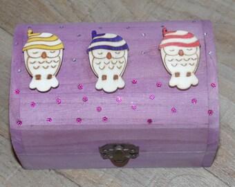 Sleepy Owls mini treasure chest