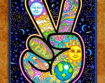 "Tapestry, Dan Morris Peace Hand Hippie Tapestry Wall Hanging 28""x42"" or 36""x54"" inches by Artist Dan Morris"