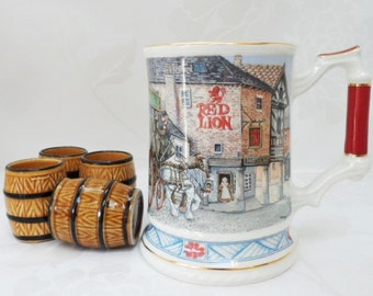 Sadler Beer Tankard The Red Lion Vintage Transfer Decorated Olde England Street Scene Collectable Breweriana