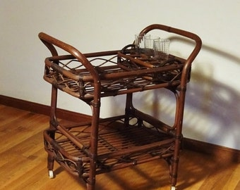 ON SALE- Rattan Serving Cart c1960 Hollywood Regency w/Removable Drinking Glass Rack