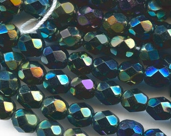 Vintage faceted jet glass round with partial AB finish, Czechoslovakia,12mm. Pkg. of 5. B11-MI-0051(e)