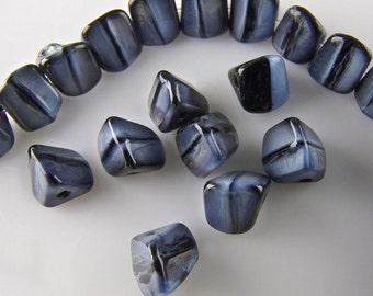 Vintage Czech Triangle Blue and Black Bead. 4x5mm. Pkg of 25. b11-bl-0819(e)
