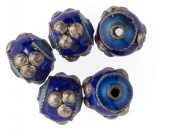 Enameled copper hollow drum bead,  blue with raised silver dots. 9x10mm.   Pkg of 2. b18-548(e)