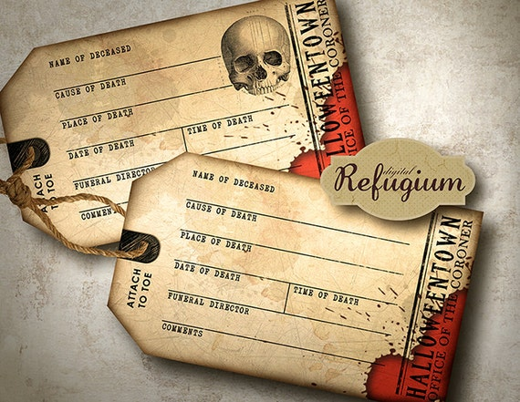 Toe Tag Halloween Invitations