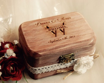 FAST SHIPPING Rustic Ring Bearer Box, Custom Rustic Ring Box, Shabby Chic Box, Country Pillow Ring, Personalized Ring Box, Engraved Ring Box