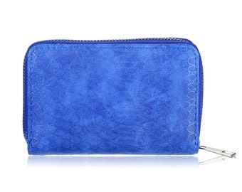 Croco wallet blue