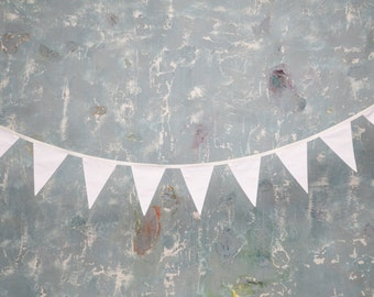 White flags garland. Cotton Flag Garland bunting