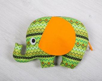 Decorative pillow elephant. Stuffed Elephant pillow, Stuffed cushion. Pillow-toy elephant. green elephant