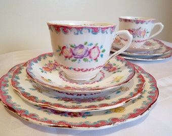 Vintage Tea Cup and Saucer, Royal Albert Crown China Trio, Rose Marie Teacup and Cake Plate, Hand Painted Vintage Tea Set