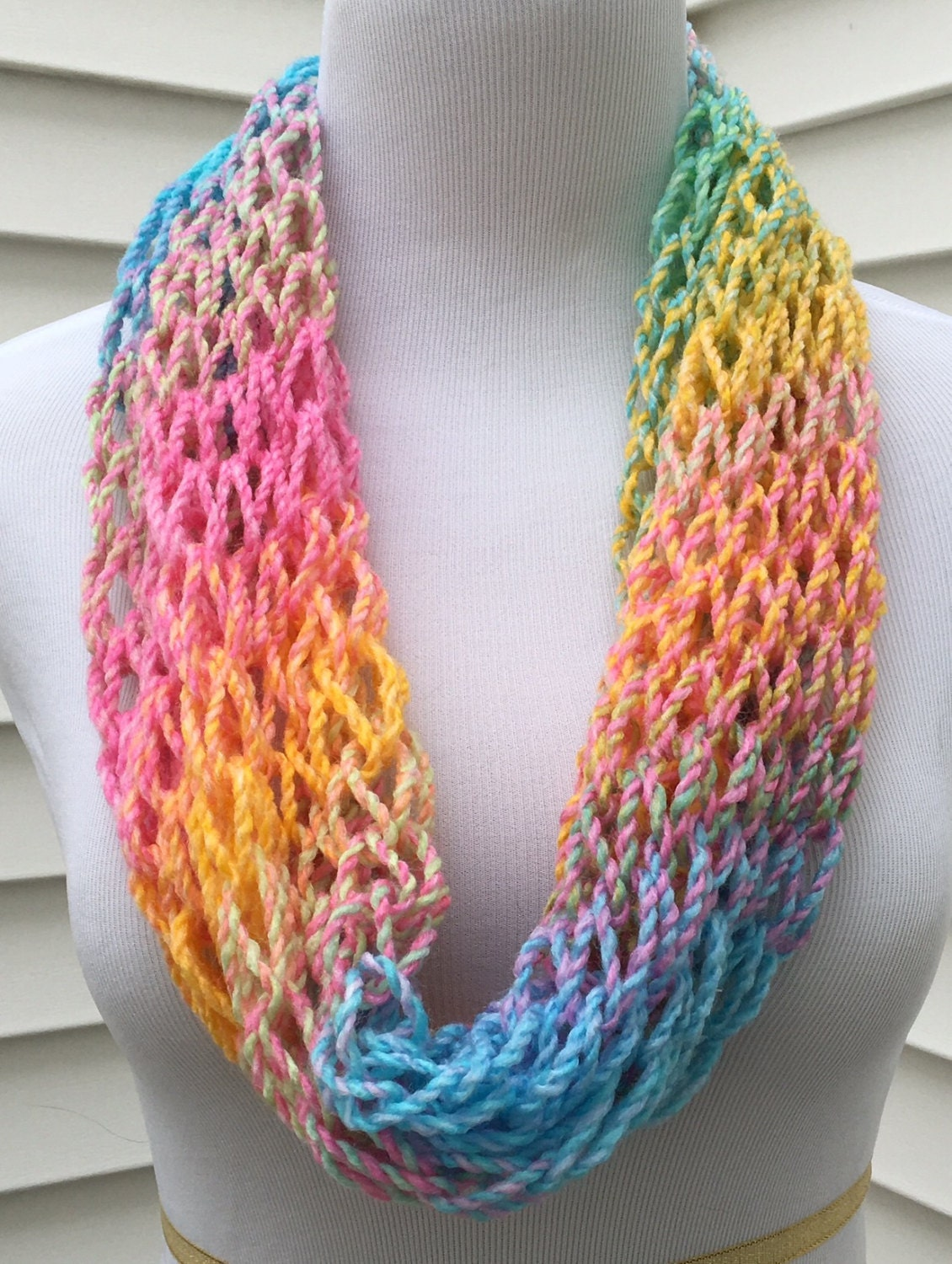 Multi Colored Scarf Knitting Pattern : Rainbow Scarf Multi Colored Scarf Open Knit Infinity Spring