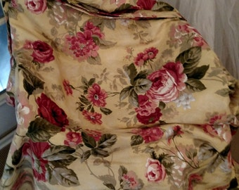 Pair Vintage beautiful floral long curtain window treatment/valance