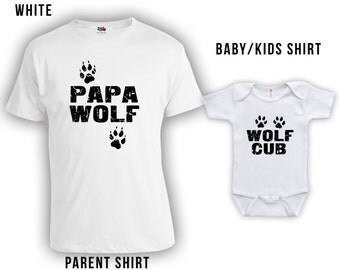 Papa Wolf, Wolf Cub - Matching Fathers Day Set - Baby Shirt, Gifts for Him Gifts for Dad from Son, Fathers Day Shirt, Bodysuit CT-332-333